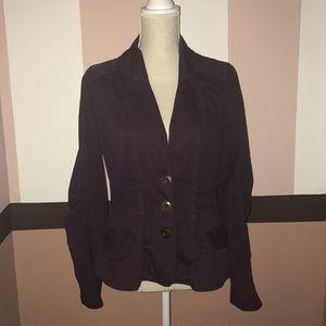 Purple cotton three button blazer size S